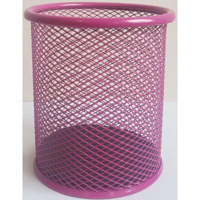 Írószertartó fémhálós D.rect kerek pohár rózsaszín