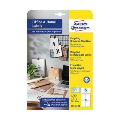 Etikett AVERY LR3483-10 105x148mm univerzális  környezetbarát  40 címke/doboz 10 ív/doboz