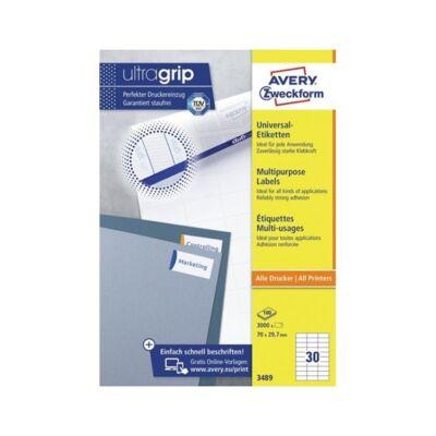 Etikett AVERY 3489 70x29,7mm univerzális 3000 címke/doboz 100 ív/doboz