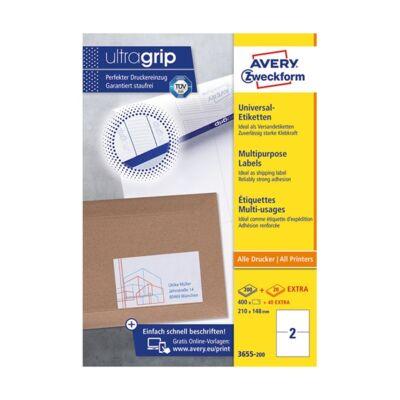 Etikett AVERY 3655-200 210x148 mm fehér univerzális 440 címke/doboz 200+20 ív/doboz