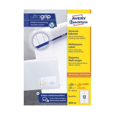 Etikett AVERY 3659-200 97x42,3 mm fehér univerzális 2640 címke/doboz 200+20 ív/doboz