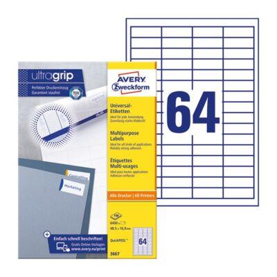 Etikett AVERY 3667 48,5x16,9mm univerzális 6400 címke/doboz 100 ív/doboz