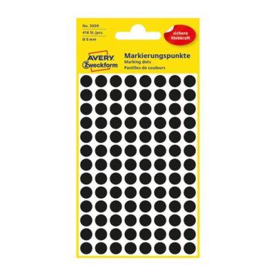 Etikett AVERY 3009 jelölőpont 8mm fekete 416 db/csomag