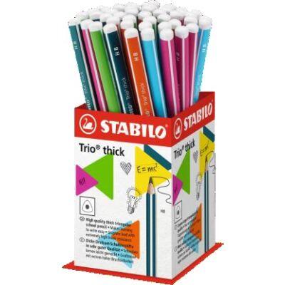 Grafitceruza display STABILO Trio 2B háromszögletű vastag 48 db-os
